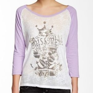 Miss Me Raglan Sleeve Tee NWT Purple/White Sz L